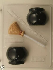 3D CAULDRON AND WITCH BROOM CLEAR PLASTIC CHOCOLATE CANDY MOLD H116
