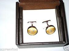 Trafalgar Mens Concord silk fabric yellow cuff links engraved rhodium NIB $65.00