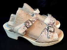 UGGLEBO TOFFELN Womens 38 White Snake Swedish Classic Clog Sandals Open Toe US 7