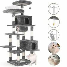 """80"""" Multi-Level Cat Tree Large Kitty Condo Play House Activity Stand Tower Grey"""