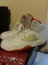 Air Jordan Retro 5 SZ 11WMNS mens 9.5 Sunset/White/Red PE great used condition