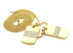 """Iced RICH GANG DOUBLE DOG TAG 18k GOLD FILLED W 30"""" BALL CHAINS DTC003GS"""