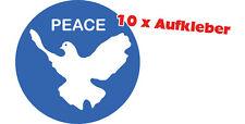 PEACE Friedenstaube Aufkleber, wetterfest 10 Stück