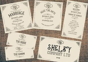 Peaky Blinders Personalised Wedding Stationery Bundle Invitations Etc Digital
