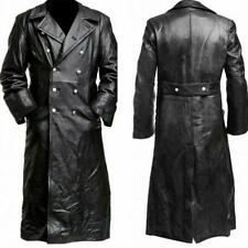 Mens Classic Leather Jacket Officer Military German Trench Coat Sale Lapel 2020