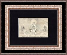 Antique matted print :Buddha sitting on the Lotus 1848 / holzstich Buddhismus