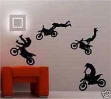 4 x MOTOCROSS MOTO Art mural autocollants chambre d'ENFANT Décalcomanie