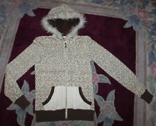 Billabong Womens sz S Cream Ivory Brown Distressed Coat cropped Jacket Hood Fur