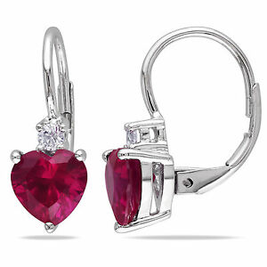 Silver Created Ruby and Created White Sapphire Heart Earrings