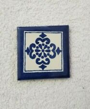 Glossy Blue White Clover Mexican Talavera Ceramic Tiles 2x2
