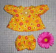 "Handmade Doll Clothes for 14"" Cabbage Patch Dolls - ""Dancing Flowers"" Dress Set"