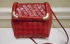 Sharif,Red Embossed Reptile Pattern Woven Leather,Cross Body Handbag,Made in USA