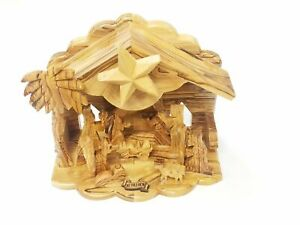 The Silent Night MUSICAL Olive Wood Nativity Set Bethlehem Biblical Christmas