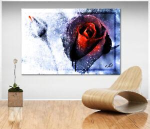 Wandbilder Abstrakt Rose Blume Bild Leinwand Kunst Bilder Kunstdruck XXL D1172