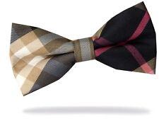 PRICED 2 GO! Mens Pre-Tied Adjustable Tartan Check Bow Tie Black Beige White Red
