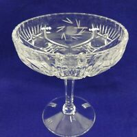 Cut Crystal Compote on Panel Pedestal Candy Nut Dish Bowl