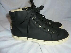 UGG WOMEN BLACK LEATHER LACE UP HIGH TOP TRAINERS SIZE UK 5.5 EU 38 US 7 VGC