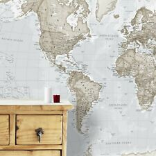 Maps International - Giant World Map Mural - 91 x 62 - Neutral Colors