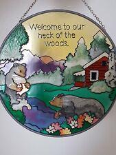 Vtg Stained Glass Window Door Porch Garden Art Welcome Sign Sun Catcher