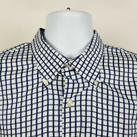 Peter Millar Mens White Blue Check Dress Button Shirt Size XL