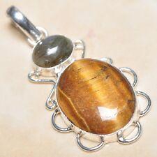 "Handmade Golden Tiger's Eye Gemstone 925 Sterling Silver Pendant 2.25"" #P03244"