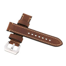 Brown Vintage Genuine Leather Military Watches Strap Band 22mm Polished Buckle