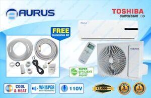 12,000 BTU System Ductless Air Conditioner,Heat Pump Mini split 110V 1 Ton w/kit
