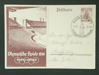 1937 Hamburg Germany Olympic Games Berlin Stadium Illustrated Postcard Cover