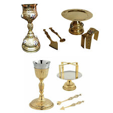 Holy Communion Orthodox Church Chalice Set 5 Pieces Paten Lance Complete