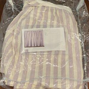 "Restoration Hardware Lilac Stripe Antique Bed Skirt FULL sized 15"" drop"