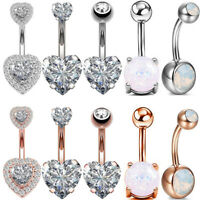 Opal CZ Navel Belly Button Ring Surgical Steel Bar Barbells Body Piercing 14G