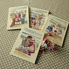 VINTAGE HAND EMBROIDERED/CROSS STITCH PICTURE PANELS X 4 . ALL VINTAGE CHILDHOOD