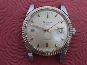 """BULOVA """"OCEANOGRAPHER"""" 333 FEET 10K BEZEL STEEL CASE 36MM DIAMETER RUNNING!!"""