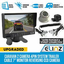 """Caravan 2 Camera 4pin Trailer Cable 7"""" Monitor HD 12v 24v Reversing CCD Elinz"""