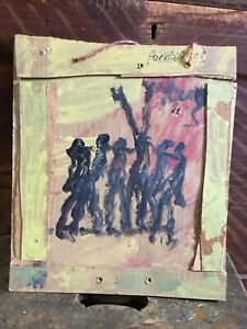 Purvis Young REJOICE~Signed Original Painting~Artist Made Frame~Wood~Cardboard