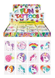 Children's Tattoos Unicorn Party Bag Fillers Boys Girls Temporary Tattoo UK SLR