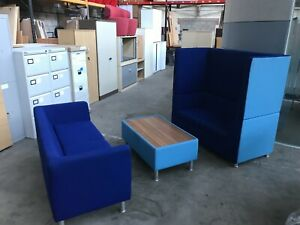 3 X PIECE BLUE FABRIC BREAKOUT SOFA, OFFICE, HOME, RECEPTION, WAITING ROOM