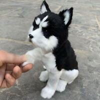 Realistic Simulation Husky Dog Plush Toy Lifelike Fluffy Puppy Model Gift Decor
