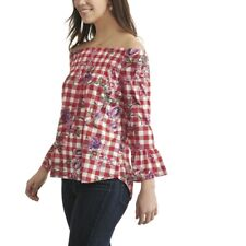 New York Laundry Off-The-Shoulder Checked Top, S