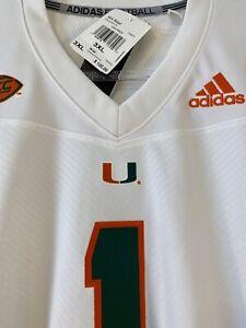ADIDAS Mens Miami Hurricanes Team Premier Football Jersey-NWT $120 MSRP-AWAY-🔥
