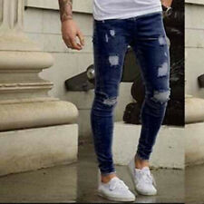 Men's Ripped Skinny Biker Jeans Pants Destroyed Frayed Slim Fit Denim Trousers