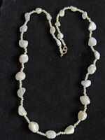 Vintage Estate White Cats Eye Bead Necklace Moonstone 25 inches