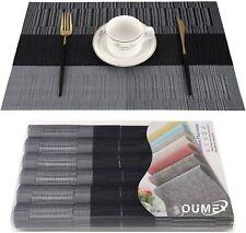 Lot de 6 Sets de Tables PVC Lavables Antidérapant Résistant à l'usure Chaleur