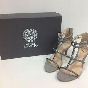 New Vince Camuto Strappy Heels Grey Size UK 4 Suede Leather Diamante Zip 142025