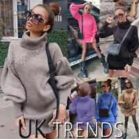 UK Women Ladies Chunky Knitted Puff Sleeves Dress Oversized Jumper High Neck Top