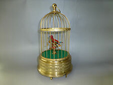 VINTAGE GERMAN KARL GRIESBAUM SINGING BIRD CAGE MUSIC BOX AUTOMATON =WATCH VIDEO