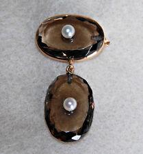 Antique CITRINE & PEARL BROOCH - Dangle Drop, 14K GOLD, LARGE, UNUSUAL    (4F34)