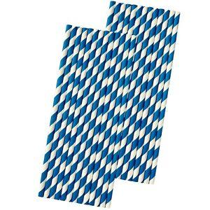 50 Royal Blue Stripe Paper Straws