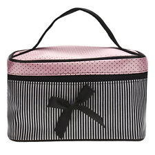 Portable  Soft Satin Multifunction Square Bow Stripe Cosmetic bowknot Bag N1