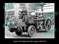 OLD LARGE HISTORIC PHOTO OF THE BOSTON FIRE DEPARTMENT FIRE ENGINE, USA c1910